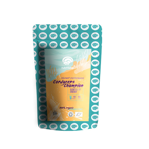 Cordyceps Champion mushroom extract powder, organic, 150 grams equal to 150 servings or 3 months supply in a pouch bag, white background