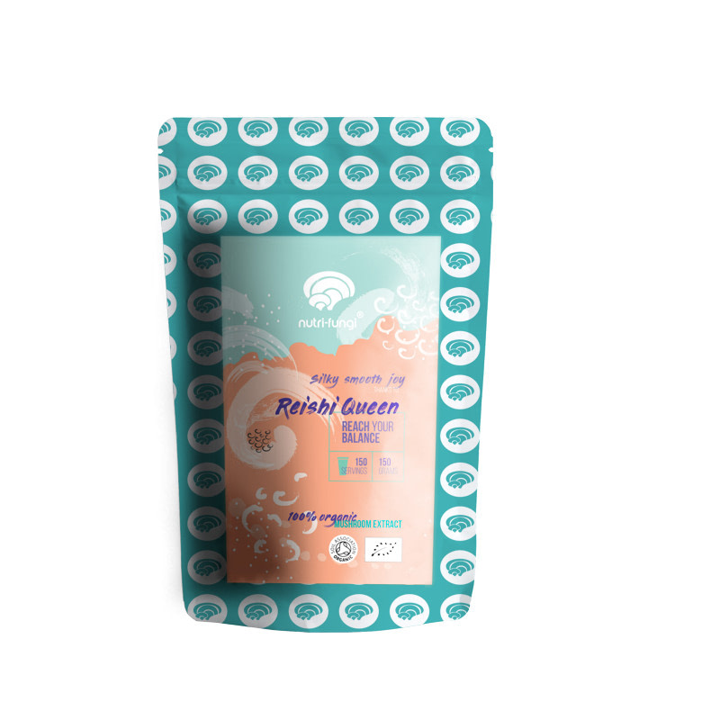 Reishi mushroom dual extract powder, organic in a 150g recyclable pouch bag on a white background
